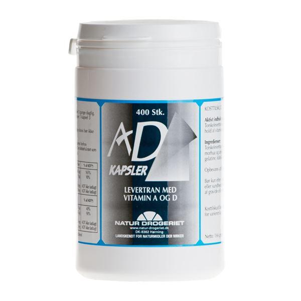AD Kapsler Levertran med A og D-vitamin 400 kapsler