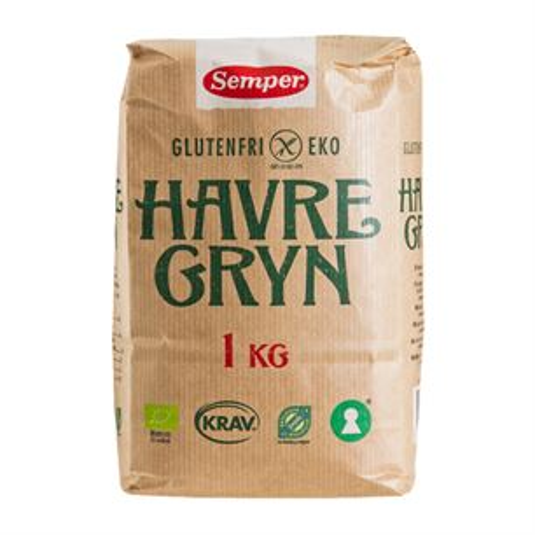 Havregryn glutenfri Semper 1 kg økologisk