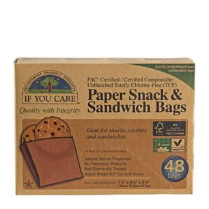 Paper Snack & Sandwich Bags Unbleached If You Care 48 stk.