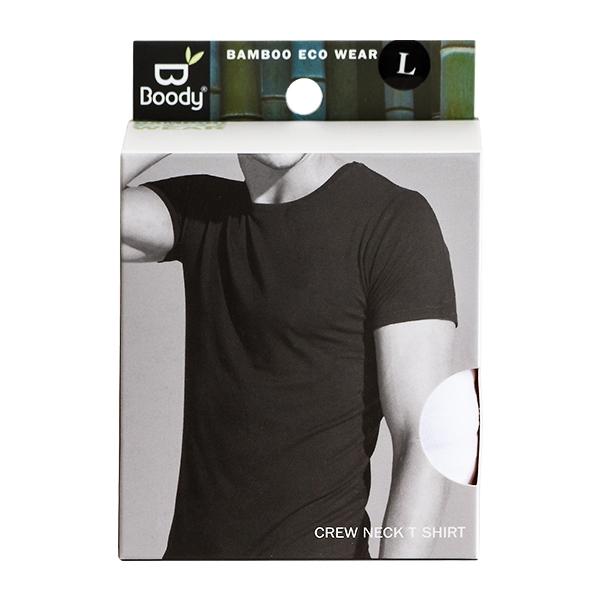 T Shirt Crew Neck Herre Hvid str. L Boody økologisk
